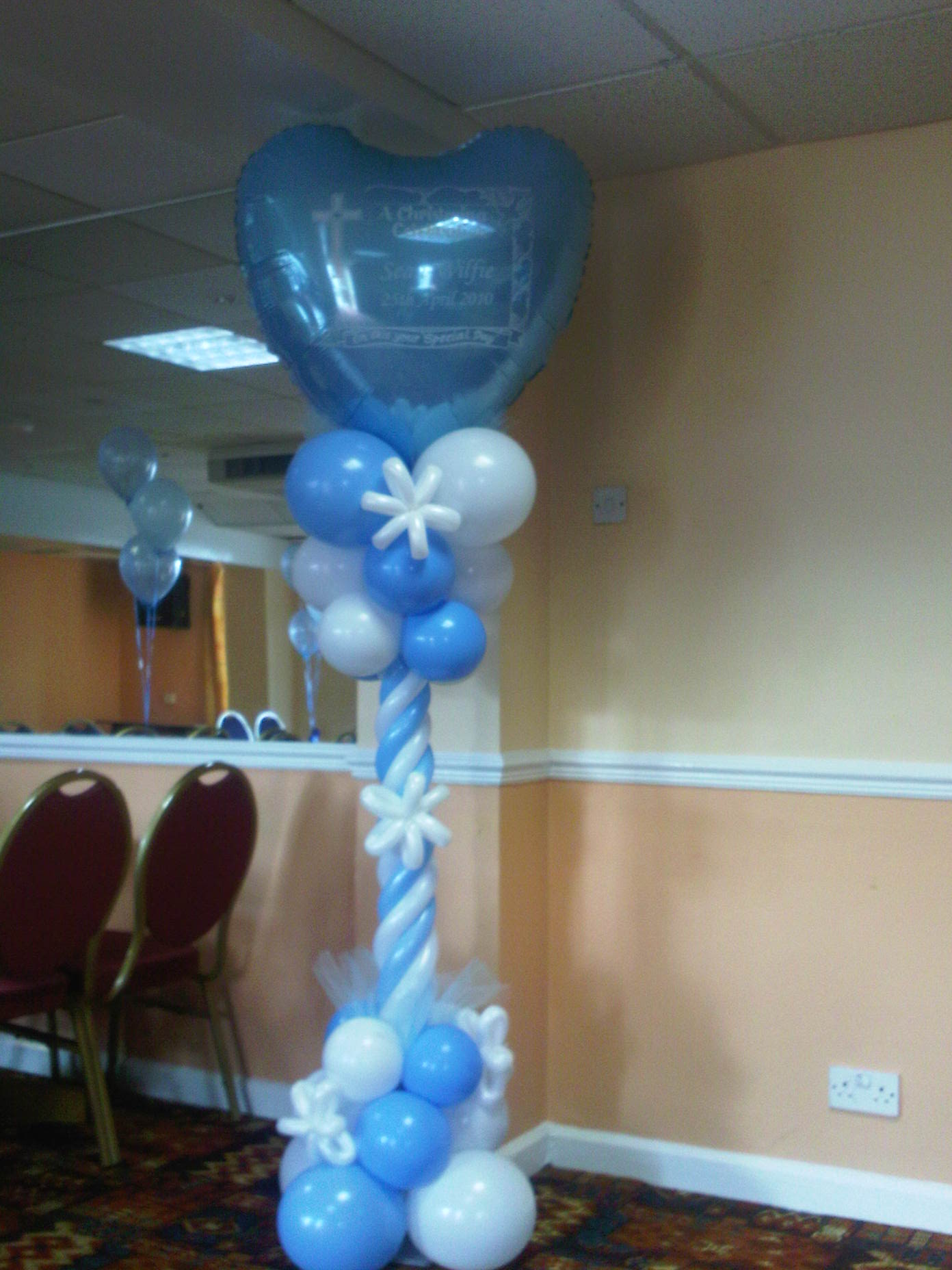 Special occasion foils at sean wilfie s christening for Balloon decoration ideas for christening
